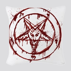 slayer pentagram Woven Throw Pillow