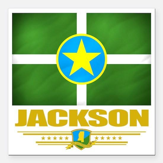 "Jackson (Flag 10) Square Car Magnet 3"" x 3"""