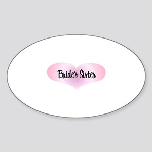 Bride's Sister - Pink Heart Oval Sticker