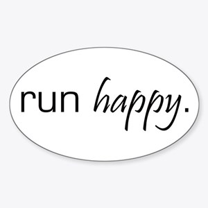 Run Happy Oval Sticker