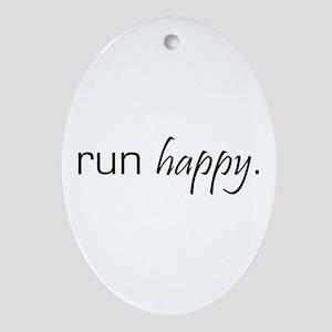Run Happy Oval Ornament