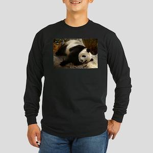 Tai Shan Resting on Log Long Sleeve Dark T-Shirt