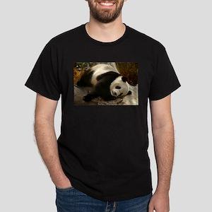 Tai Shan Resting on Log Dark T-Shirt