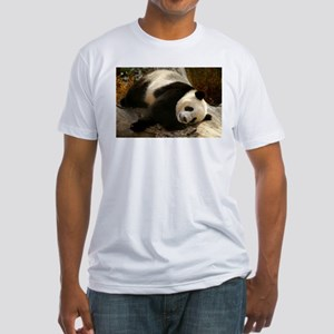 Tai Shan Resting on Log Fitted T-Shirt