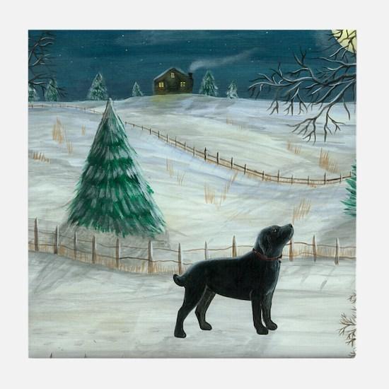 Winter Labrador Tile Coaster