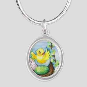 easter_yellowbird_bi Silver Oval Necklace