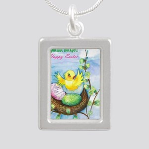 easter_yellowbird_bi Silver Portrait Necklace
