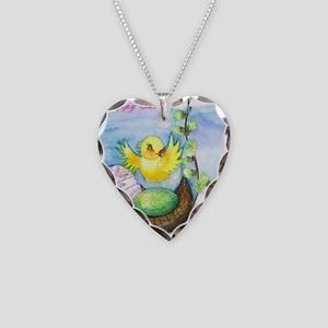 easter_yellowbird_bi Necklace Heart Charm