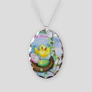 easter_yellowbird_bi Necklace Oval Charm