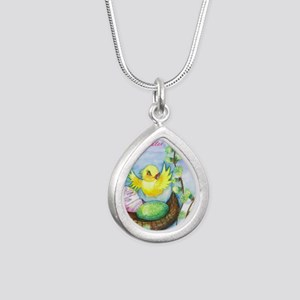 easter_yellowbird_bi Silver Teardrop Necklace