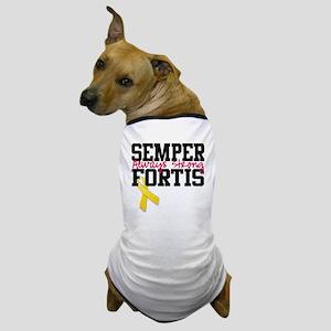 semperfortisyellowribbon Dog T-Shirt