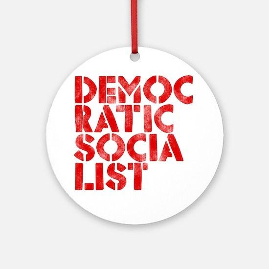 DEM-SOC-RED Round Ornament