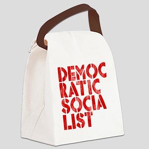 DEM-SOC-RED Canvas Lunch Bag
