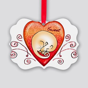 Sweet rat heart Picture Ornament