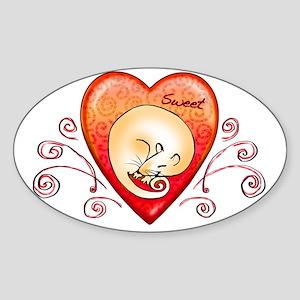 Sweet rat heart Sticker (Oval)