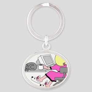 avatar_homeoffice Oval Keychain