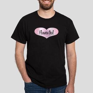 Flower Girl - Pink Heart Dark T-Shirt