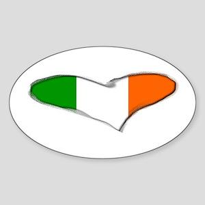 Irish Flag Heart Ireland Oval Sticker