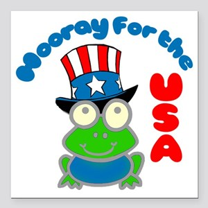 "frog-USA Square Car Magnet 3"" x 3"""