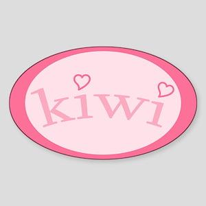 """Kiwi with Hearts"" Oval Sticker"