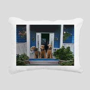 3 Airedale on porch Rectangular Canvas Pillow