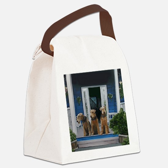 3 Airedale on porchll Canvas Lunch Bag
