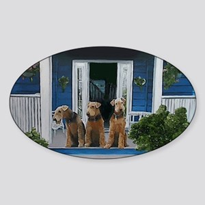3 Airedale on porch Sticker (Oval)