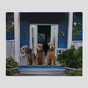 3 Airedale on porch Throw Blanket