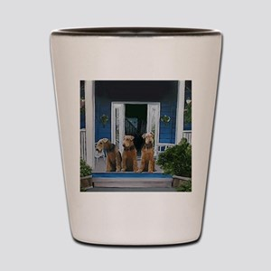 3 Airedale on porchll Shot Glass