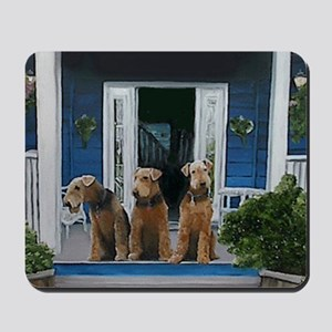 3 Airedale on porchll Mousepad