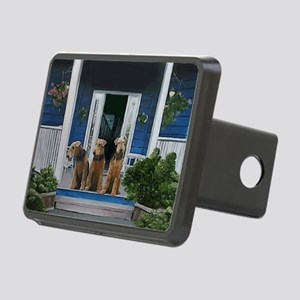 3 Airedale on porch Rectangular Hitch Cover