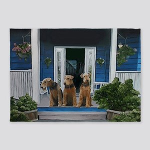 3 Airedale on porch 5'x7'Area Rug