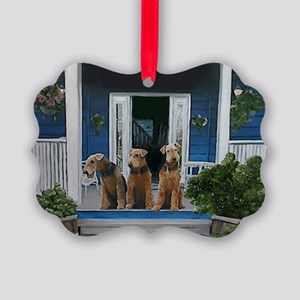 3 Airedale on porch Picture Ornament
