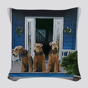 3 Airedale on porchll Woven Throw Pillow