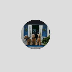 3 Airedale on porchll Mini Button
