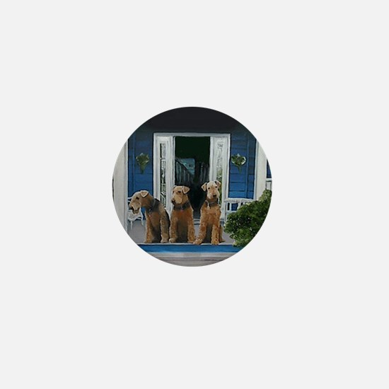 3 Airedale on porchll Mini Button