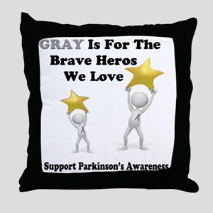 Gray is for the Brave Heros Throw Pillow