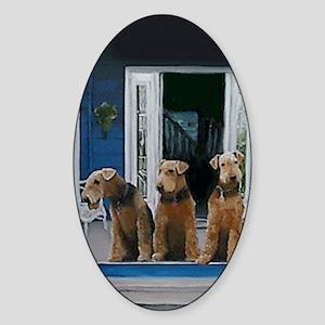 3 Airedale on porchlljkj Sticker (Oval)