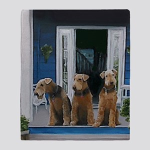 3 Airedale on porchlljkj Throw Blanket
