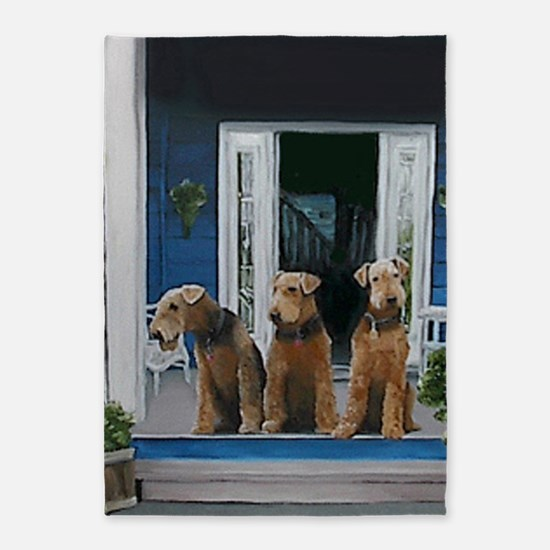 3 Airedale on porchlljkj 5'x7'Area Rug