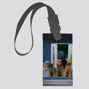 3 Airedale on porchlljkj Large Luggage Tag