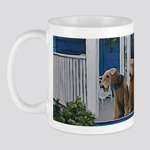 3 Airedale on porchlljkjgf Mug