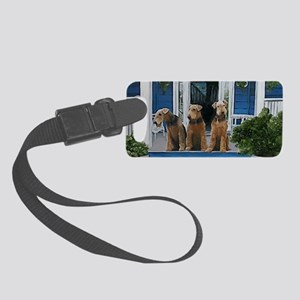 3 Airedale on porchlljkjgf Small Luggage Tag
