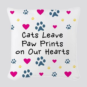 cats-leave-paw-prints-k Woven Throw Pillow