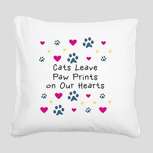 cats-leave-paw-prints-k Square Canvas Pillow