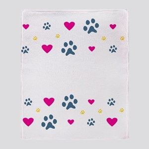 cats-leave-paw-prints-white Throw Blanket