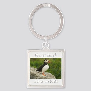 ForTheBirdsPuffin2-whiteLetters co Square Keychain