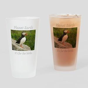 ForTheBirdsPuffin2-whiteLetters cop Drinking Glass