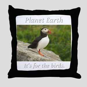 ForTheBirdsPuffin2-whiteLetters copy Throw Pillow