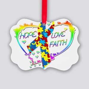 Hope Love Faith Heart copy Picture Ornament